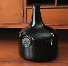 "Antiques Dealers Association - Fabulous ""Black Glass"" Sealed Mallet Bottle Dated 1732"