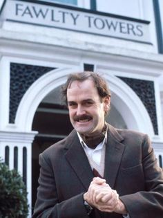 "Basil Fawlty, played by John Cleese. If you've never seen an episode of the British TV comedy ""Fawlty Towers"", your life is incomplete. British Tv Comedies, Classic Comedies, British Comedy, British Actors, Fawlty Towers, Bbc, John Legend, British Humor, Kino Film"
