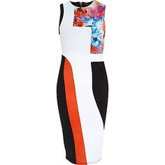 If I had somewhere to go.....White bold print sleeveless bodycon dress €67.00