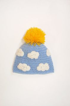 """Crochet Bright, Sunny and Funny Pom Pom Hat with sun and clouds for Kids, Fall Autumn Hat,  20"""" on Etsy, $28.00 sun hat kids, crochet pom pom hat, cloud"""