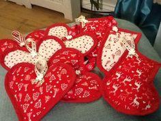 Hand made padded Xmas tree fabric decorations