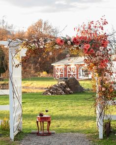 The florist, Saipua, wrapped the existing white arbor in branches, roses, and persimmons that played up the season's rich colors.
