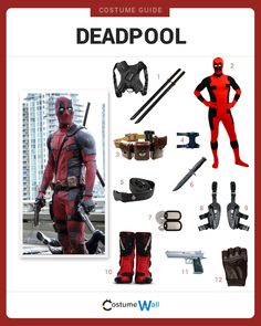 Dress like Deadpool from the upcoming Marvel movie. Get cosplay inspiration and and costume ideas from Wade Wilson, aka the Merc with the Mouth. Deadpool Film, Deadpool Facts, Deadpool Funny, Lady Deadpool, Deadpool Cake, Female Deadpool, Deadpool Symbol, Deadpool Quotes, Deadpool Tattoo
