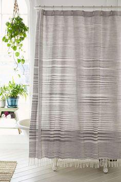 striped linen shower curtain