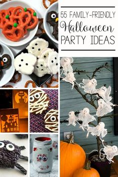 Sometimes its hard to translate the scariness of Halloween into a kid-friendly party. So I rounded up some of the best family-friendly Halloween party ideas Halloween Desserts, Halloween Food For Party, Halloween Activities, Family Halloween, Diy Halloween Decorations, Easy Halloween, Holidays Halloween, Halloween Treats, Vintage Halloween