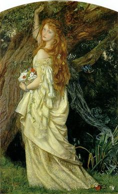 """Ophelia"" by Arthur Hughes The painting was completed in 1871. It illustrates the scene in Shakespeare's Hamlet (Act IV, scene 7) in which Ophelia picks flowers to make garlands shortly before she drowns. http://www.arthurhughes.org/:"