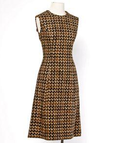 Adele Simpson Vintage 1960's 60s Houndstooth Brown Wool Coat + Dress 2-Pc Set image 2
