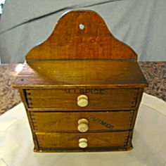 Antique spice box for sale at More Than McCoy at http://www.morethanmccoy.com