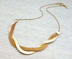 Ines Necklace, thick braided gold silver plated jewelry, signature necklace by shlomitofir on Etsy