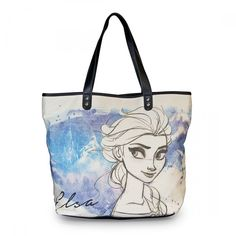 disney frozen elsa hand drawn canvas with faux leather tote radar toys 1