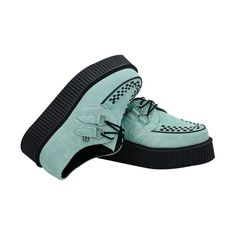 T.U.K. Shoes A8308 - $75.00 - 2 Inch Platform Sole Mint Green Suede... (97 CAD) ❤ liked on Polyvore featuring shoes, creepers, platform lace up shoes, mint shoes, suede lace up shoes, suede shoes and round toe shoes