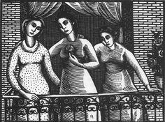 Κατράκη Βάσω – Vasso Katraki [1914-1988] | paletaart – Χρώμα & Φώς Wood Engraving, World War Ii, Mona Lisa, Greek, Artwork, Painting, World War Two, Woodblock Print, Work Of Art