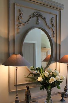 French grey lamps and a gorgeous entry mirror . Decorating Your Home, Interior Decorating, Interior Design, Trumeau Mirror, Entry Mirror, Mirror Mirror, French Decor, Interior And Exterior, Painted Furniture