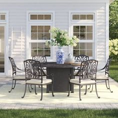 Three Posts Lebanon 7 Piece Dining Set with Cushions Outdoor Cafe, Outdoor Dining Set, Patio Dining, Outdoor Decor, 3 Piece Bistro Set, 3 Piece Dining Set, Dining Room Sets, Hacienda Heights, Circular Dining Table