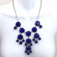 """Big Chunky Cabochon Style Beads Necklace Beautiful blue beaded bubble style cabochon like beads necklace. Approximate 22"""" inches long. Drop is approximate 11"""" inches. Silver chain. NY Collection Jewelry Necklaces"""