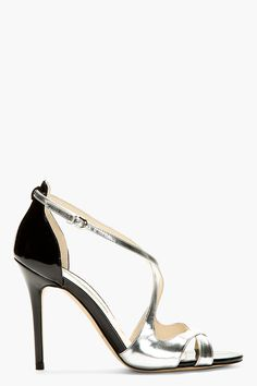 BRIAN ATWOOD Silver Patent Leather Heeled Sandals