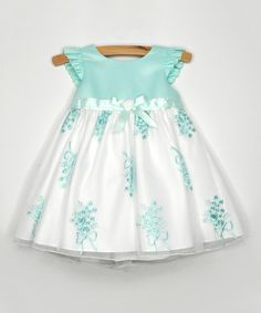 Mint Floral Garland Angel-Sleeve Dress - Infant by Princess Faith Little Girl Fashion, Little Girl Dresses, Kids Fashion, Girls Dresses, Moda Kids, Girl Dress Patterns, Toddler Girl Style, Baby Dress, Kids Outfits
