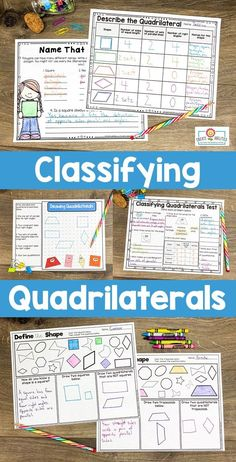 Classifying Quadrilaterals Printables & Games - Your 2nd, 3rd, 4th, & 5th grade students get printables, PowerPoints, student booklet pages, & graphic organizers to help recognize & distinguish between different shape attributes. These are hands-on, engaging activities to keep students motivated during math centers, review, test prep, homework, & more. Grab these for your second, third, fourth, & fifth graders today! #2ndGrade #3rdGrade #4thGrade #5thGrade 5th Grade Classroom, Classroom Games, 4th Grade Activities, Math Division, Test Prep, Elementary Math, Graphic Organizers, Math Resources, Math Centers