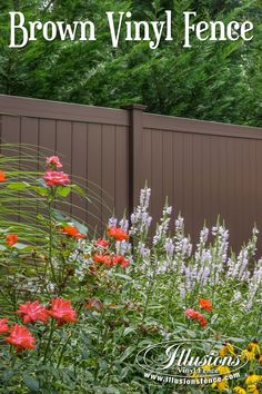 Fence Ideas That Add Curb Appeal. Beautiful Brown PVC Vinyl Privacy Pool Fence from Illusions Vinyl Fence. Privacy Fence Landscaping, Fence Plants, Pool Fence, Backyard Fences, Garden Fencing, Garden Beds, Landscaping Ideas, Backyard Privacy, Backyard Playground