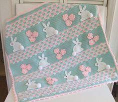Crochet Pattern Bunny Baby Blanket Digital by CrochetVillage