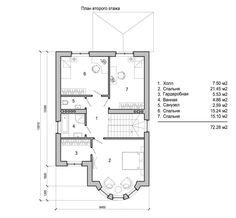 План второго этажа красивого двухэтажного дома из светлого кирпича с полукруглым эркером Villa, Floor Plans, House Design, Home Decor, Houses, Decoration Home, Room Decor, Architecture Design, Home Interior Design