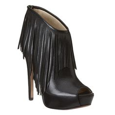 "Fringe peep toe platform leather bootie.  Back zipper closure.  Measurements: heel 5"" and platform 1.5"""