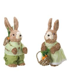 Look what I found on #zulily! Brown & Green Carrot Bunny Figurine - Set of Two #zulilyfinds