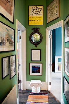 Discover the small but characterful Farrow & Ball Folly Green London flat of Luke Edward Hall and Duncan Campbell on HOUSE - design, food and travel by House & Garden Hall Colour, Color 2, Decoration Hall, Hallway Colours, Yellow Hallway, Green Hallway Paint, Bright Hallway, Bright Walls, Bright Rooms