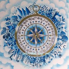 My winter wonderland compass Enchanted Forest Johanna Basford ✏️Faber Castell Polychromos, Derwent metallics, gold Pablo, Winsor & Newton metallic inks & white gel pen for snow 11/6/16