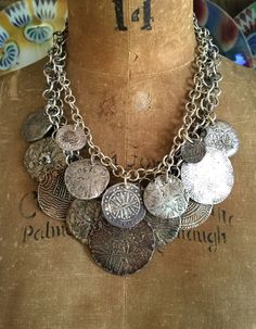 images and items for sale of necklaces with antique trade beads, old silver and hand made sterling silver chains