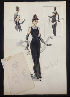 That dress!!  Sketch by Edith Head of a Hubert de Givenchy design for Audrey Hepburn in Breakfast at Tiffany's (1961).