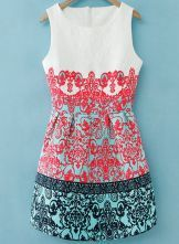 White Sleeveless Red Green Floral Embroidered Dress $34 ekm