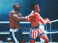 ORIGINAL oil painting Sylvester Stallone Rocky by billpruittart #Rocky3Art #RockyBalboaClubber