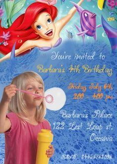 Ariel Invitations birthday invitations Printable Invitations diy Invitations Children custom Invitations