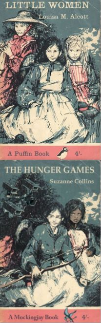 Someone took vintage Puffin edition books and transformed them into Hunger Games covers. I love this!