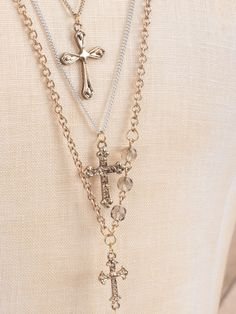 Altar'd State Triple Layer Rosary Cross Necklace - Necklaces - Jewelry