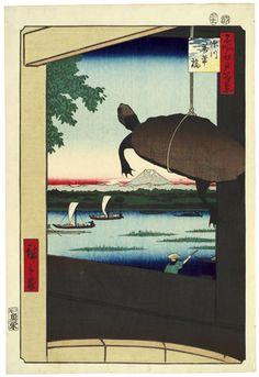 Utagawa Hiroshige (Japanese, Mannen Bridge, Fukagawa (Fukagawa Mannenbashi) Month, From the series One Hundred Famous Views of Edo, circa Woodblock print. Painting Prints, Canvas Prints, Art Prints, Mont Fuji, Hokusai, Art Asiatique, Art Japonais, Japanese Painting, Japanese Prints