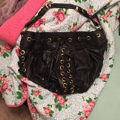 Black purse Black fake leather purse. Size of a tote. Very cute, great condition H&M Bags
