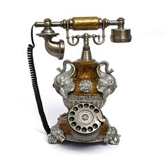 Amazon.com : LNC Retro Vintage Antique Style Rotary Dial Desk Telephone Phone Home Living Room Decor : Electronics