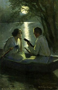 Spring Moon - Alfred James Dewey What's Art ? Romantic Paintings, Classic Paintings, Beautiful Paintings, Romance Arte, Art Romantique, Art Amour, Beauty In Art, Classical Art, Couple Art