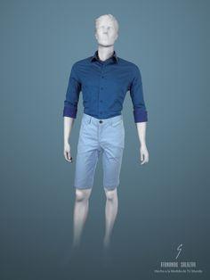 """Algunos los llaman """"shorts"""", otros """"bermudas"""", lo importante es que estos pantalones cortos en algodón, son el complemento perfecto para una camisa en azul marino de doble cara y diseño exclusivo de Fernando Salazar, logrando un outfit fresco, casual, moderno y al mismo tiempo, manteniendo la elegancia del estilo único de nuestra marca.  #casual #camisa #shirt #hombre #pantaloncorto #shorts #bermudas #hechoalamedidadetumundo"""