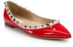 Valentino Rockstud Patent Leather Ballet Flats