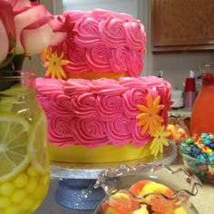 Pink lemonade party- pink lemonade cake with butter icing
