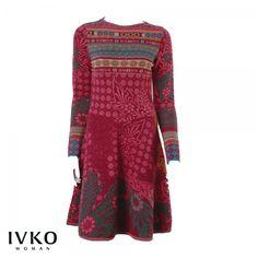 Tailliertes Strickleid von Ivko aus feinstem Wolljacquard