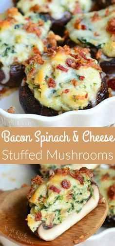 Bacon Spinach and Four Cheese Stuffed Mushrooms recipe. Incredibly delicious stu… Bacon Spinach and Four Cheese Stuffed Mushrooms recipe. Incredibly delicious stuffed mushrooms made with a flavorful mixture of crispy bacon spinach and Italian cheese mix. Mushroom Appetizers, Bacon Appetizers, Easy Appetizer Recipes, Fall Appetizers, Delicious Appetizers, Italian Appetizers, Cheese Stuffed Mushrooms, Portabella Mushrooms Stuffed, Stuffed Mushroom Recipes