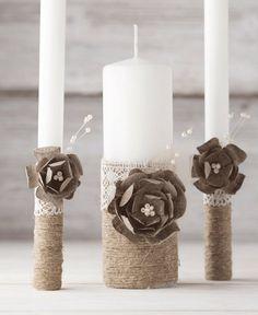 Unity Candle Set Rustic Wedding Candle Set Rustic Wedding Unity Candle Burlap and Lace Rope