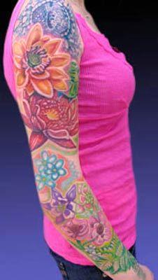 Looking for unique Michele Wortman Tattoos?  Flower Garden Sleeve