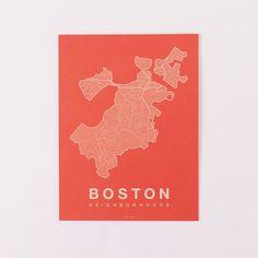 Native Maps, Boston, Cream + Orange