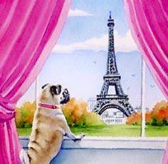 """Bichon Frise Art Print """"Bichon Frise in Paris"""" by Artist DJ Rogers Pictures To Paint, Print Pictures, Framed Art Prints, Poster Prints, Pug Art, Paris Art, Watercolor Artists, Watercolor Painting, Pug Love"""
