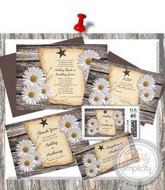 Party Simplicity Country Western Wedding Invitation - Rustic Country Daisy Wedding Suite #rustic #weddings